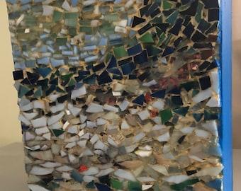 Ocean glass mosaic dunes popham beach Maine gorgeous colors oringinal art lynnemvart on birch panel