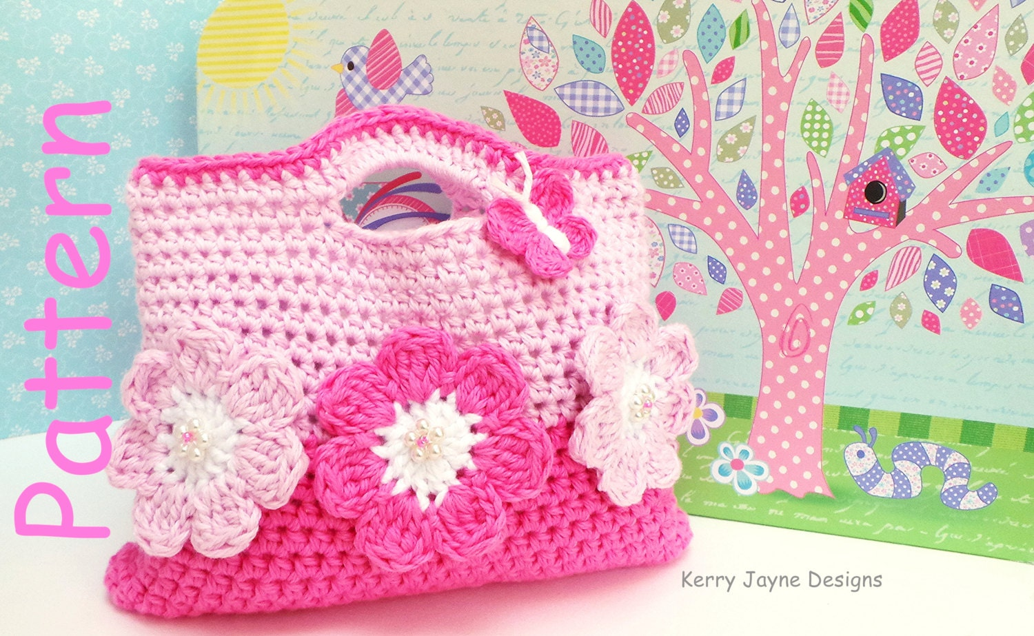 The pink flower crochet bag pattern by kerry jayne designs zoom bankloansurffo Choice Image
