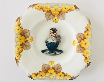 Girl in Teacup with Yellow Brown Floral Design Square Display Plate 3D Sculpture for Wall Decor Birthday Wedding Gift