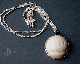 Chain Frankfurt skyline, porcelain matt, 60 cm silver 925/version antique Silver