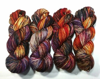 Hand Dyed Yarn super wash merino wool sport DK weight natural fibre variegated speckled multi colour Rust & Blooms knitting crochet weaving