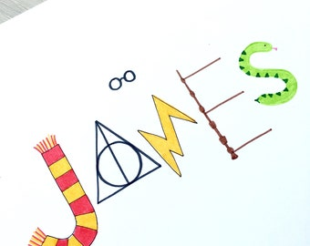 Harry Potter Name Print. Hand drawn illustration, bespoke, custom