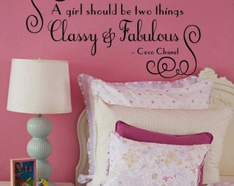 Wall Decal COCO CHANEL A girl should be two things Classy and Fabulous  Vinyl Wall Quote    Large