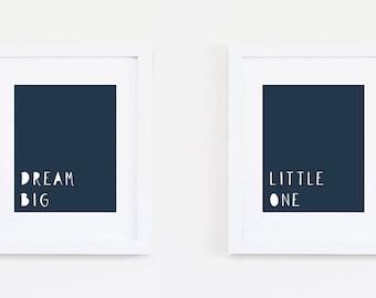 Dream Big Little One Art Quote, Nursery Art Print, Dream Big Nursery, Navy Nursery Baby Boy Nursery, Kids Bedroom Wall Art, Instant Download