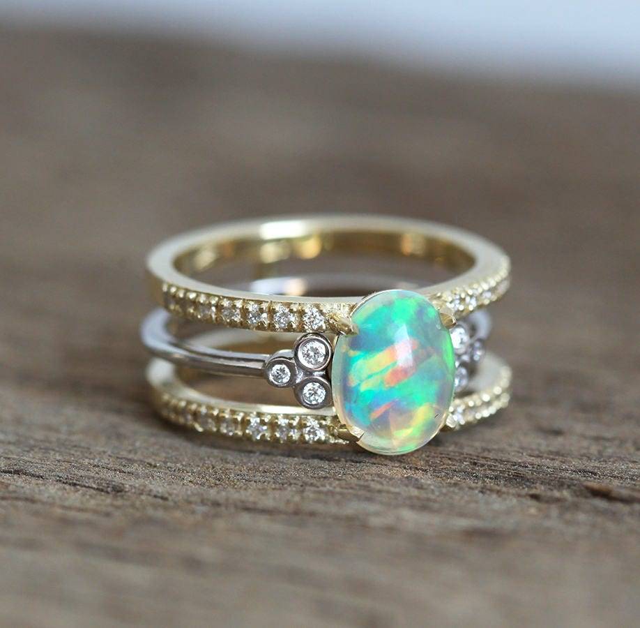 description spectacular stacking opal and diamond set - Opal Wedding Ring Sets