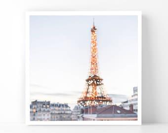 Paris Photography - Twinkling Eiffel Tower, 5x5 Paris Fine Art Photograph, French Home Decor, Wall Art, Gallery Wall