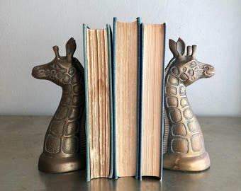 vintage brass giraffe bookends