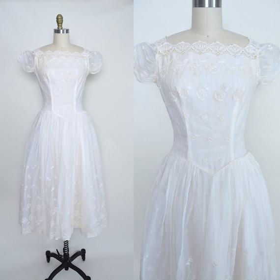 Jahrgang 1950 Hochzeit Kleid 50er Jahre weiß Brautkleid