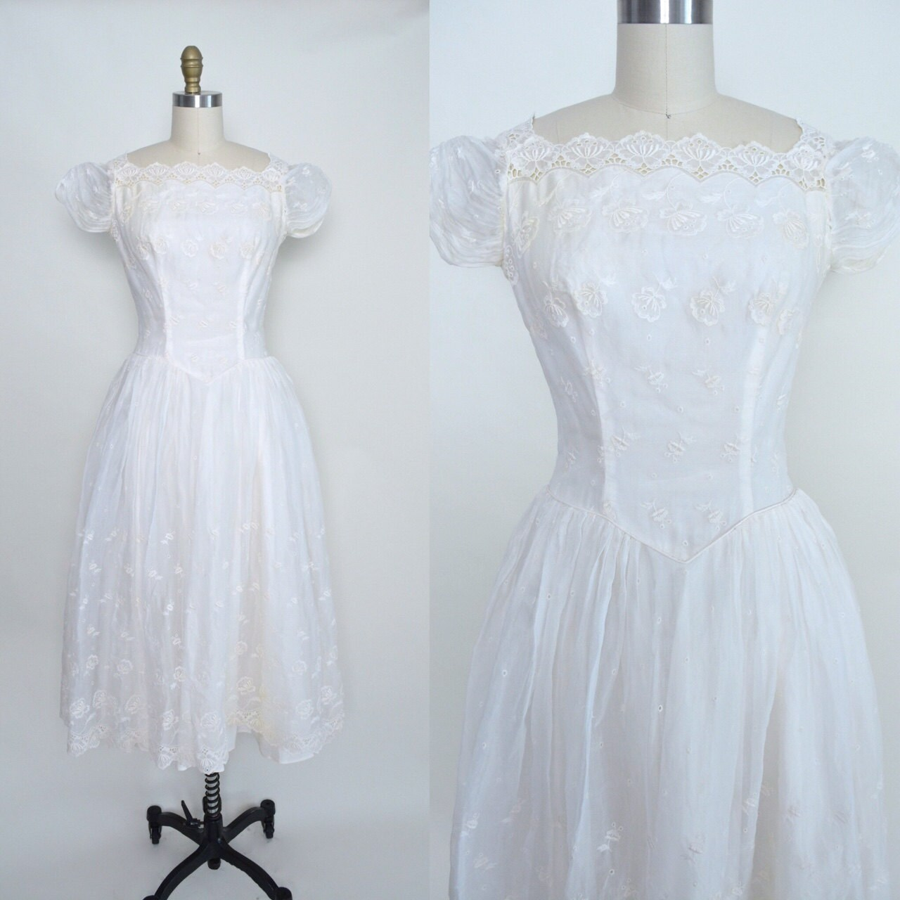 Vintage 1950s Wedding Dress 50s White Bridal Dress Full Skirt