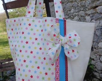 Cabas shopping en toile de coton écrue et tissu imprimé d'étoiles multicolores