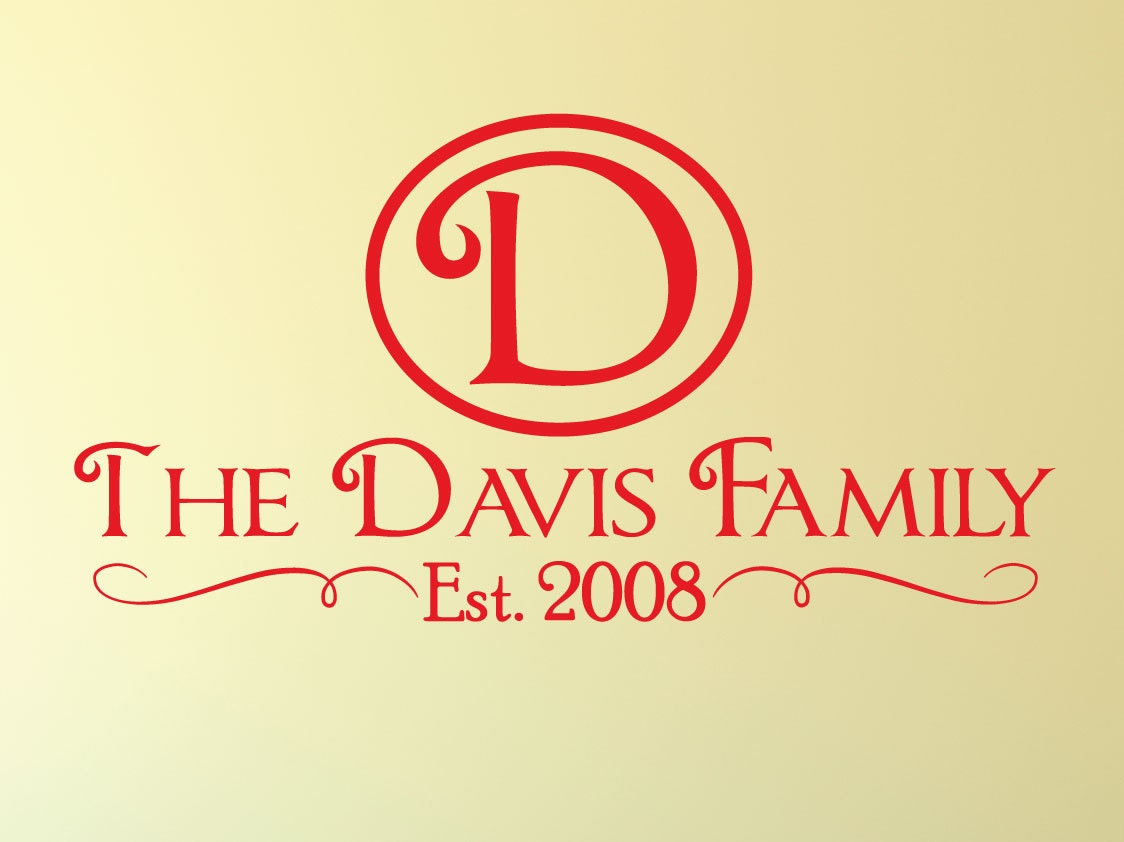 Personalized Family Name Decal 0016 Family Monogram Family