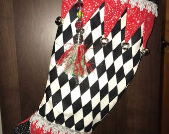 Jester Christmas Stocking -- Black and Red Harlequin -- Whimsical and Fun -- Metallic Fabric and Embellishments
