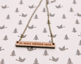 By Grace Through Faith Laser-cut Bamboo Wood Typography Necklace