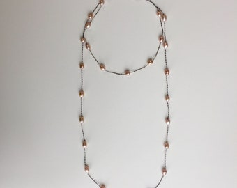 Pink pearls chain necklace