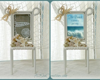 Coastal Decor Picture Frame - Little Beach Chair - Holiday Photo Frame