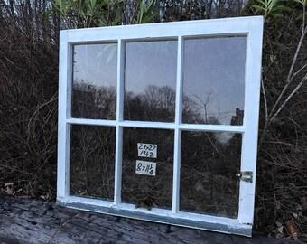 29 x 27 Vintage Window sash frame old 6 pane  from 1942