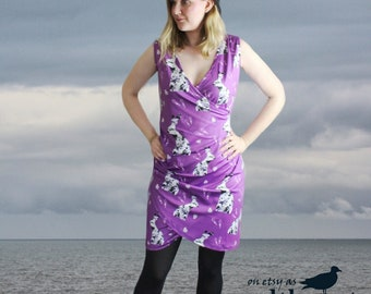 Purple hare print wrap dress bodycon sleeveless going out dress flattering rouched style pagan clothing rock pattern hare mini