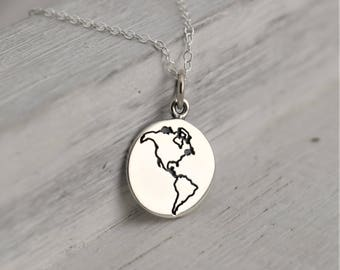 Atlas necklace etsy earth necklace birthday gift for traveler silver globe necklace world map necklace gift for gumiabroncs Gallery