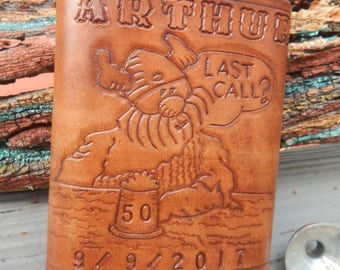 Leather Flask Featuring Hagar the Horrible and Personalized