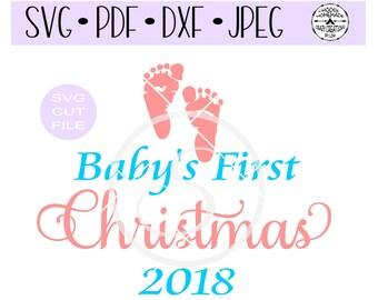 Baby's First Christmas Footprints 2 digital cut file for htv-vinyl-decal-diy-plotter-vinyl cutter-craft cutter-.SVG -.DXF  & JPEG format