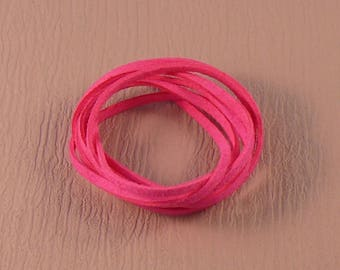 1.5 mm x 3mm neon pink suede cord