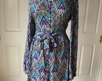 Ruffled aztec print dress