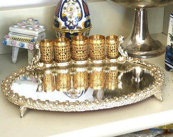 Gold tone filigree dresser tray with mirror and lipstick holders