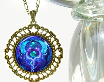 "Purple & Blue Angel Art, Reiki Pendant, Chakra Necklace ""Healing Circle"""