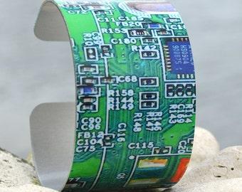 Circuit Cuff, Computer Circuit Cuff, Geekery Cuff Bracelet, Computer Geek, Adjustable Metal Cuff, Custom Printed Cuff Bracelet, Photo Cuff