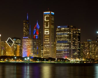 Chicago Cubs World Series Champions Skyline 2016 Closeup Photo