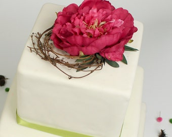 Succulent wedding cake topper floral cake top decoration floral cake topper with hot pink peony and grapevine junglespirit Image collections