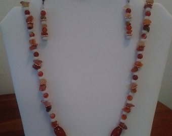 Mixed Orange & Earth Tone Necklace Set