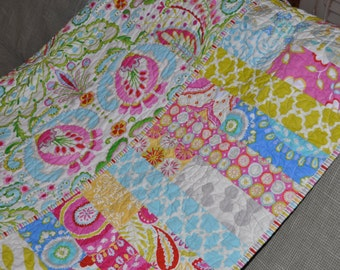 MADE TO ORDER Custom Lap Size Toddler Baby Girl Quilt Blanket Vintage Inspired Shabby Chic Style Kumari Garden Fabric by Dena Design