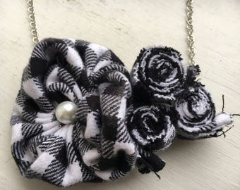 Black & white plaid foral rosette statement necklace, lobster clasp closure.