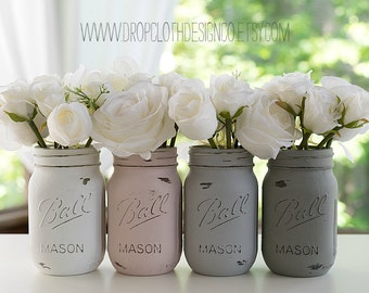 Painted Distressed Mason Jars - Pink Blush, Grey, Greige, White - Wedding Centerpiece, Bridal Showers, Home Decor