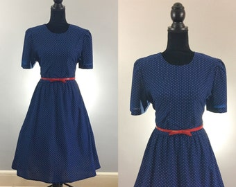 Mildred Navy Blue Vintage Dress, Polka Dot Dress, VLV Dress, Rockabilly Dress, 1950's Dress, Dapper Day, Day Dress, Vintage Size Large, Navy