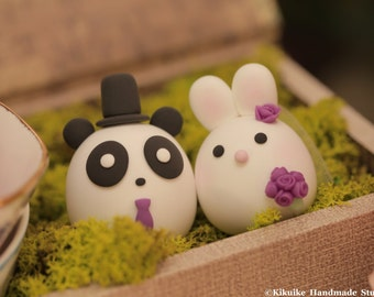 Bunny and Panda  wedding cake topper