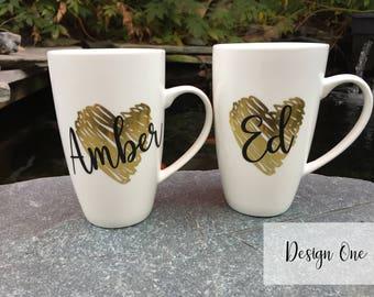 One Single (1) Ceramic gold foil heart mug, personalized, heart mug, name mug, cute mug, couples mug, xmas mug, halloween mug, love mug,