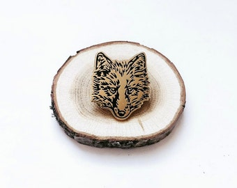 FUR FACE wolf fox Enamel Pin Wolf pin Fox pin Coyote pin Lapel Pin Hard Enamel Pin Game Pingame black and gold flair animal pin fox pin foxy