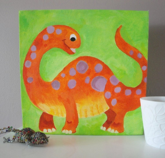 Items similar to colourful dinosaur childrens wall art canvas