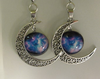 Antique Silver Half Moon with a Mystical Charm of Blues and Purple Earrings