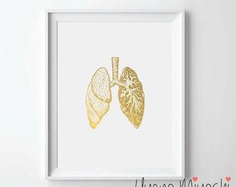 Human Lungs I Anatomy Gold Foil Print, Gold Print, Custom Print in Gold, Gold Art Print, Human Lung Trachea Bronchi Gold Foil Art Print