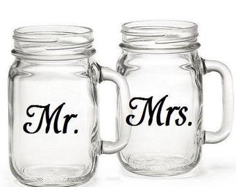 VINYL ONLY FOR  mr and mrs Mason jar ... For your wedding or gift ... personalize custom, most any color choice