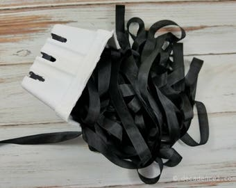 5 yards Black Seam Binding. Packaging, Scrapbooking, Shabby Pretty Embellishment