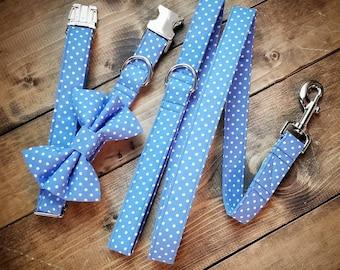 Periwinkle Pawfection Bow Tie Collar Leash Set