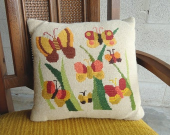 Vintage Needlepoint Butterfly Pillow 1970s Bohemian Hippie Kitsch FREE SHIPPING