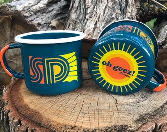 Enamel Mug South Dakota - South Dakota Sunny Camping Mug - Enamel Camp Mug SD Sunny - Enamelware South Dakota Coffee Mug by Oh Geez!  Design