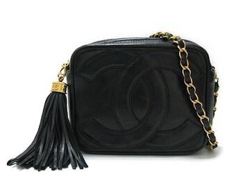 Authentic Vintage Chanel Black Lambskin Mini Camera Bag