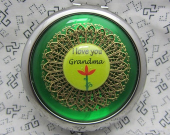 Compact Mirror Gift For Grandma Grandmother Gift I Love Grandma Comes With Protective Pouch