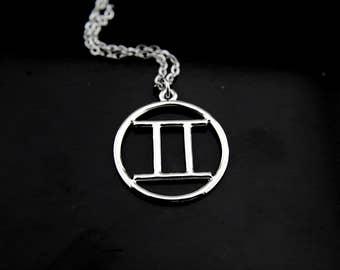 Gemini Necklace, Silver Gemini Charm Necklace, Zodiac Gemini Charms, Zodiac Jewelry, Personalized Necklace, Constellations Gemini Sign Charm
